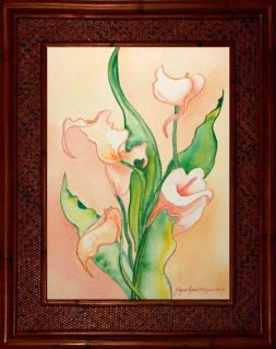 Calla Lilies Lily Tropical Flower Floral Hawaii Rattan Frame Framed