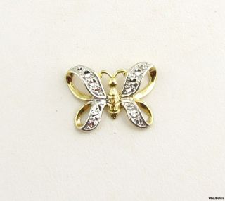 Butterfly Pendant Solid 10K Yellow White Gold Bead Accents 3D Fashion
