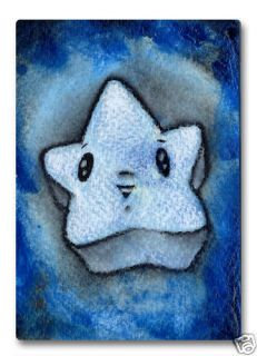 Blue Star Orig Watercolor ACEO Abstract Art E Black