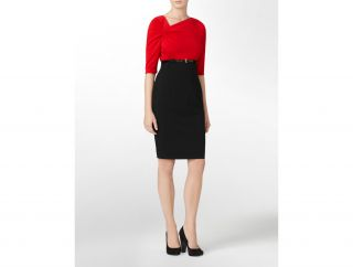 Calvin Klein Womens Petites Belted Colorblock Dress
