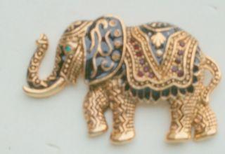 Goldtone Metal Enamel plus Red Green Amber Crystal Elephant Pin Brooch
