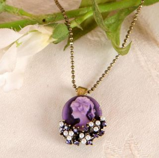 Purple Bouquet Swarovski Crystal Cameo Necklace CN 438