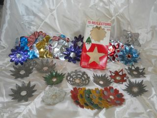 Lot of Vintage Christmas Tree Light Reflectors Aluminum and Tin Box