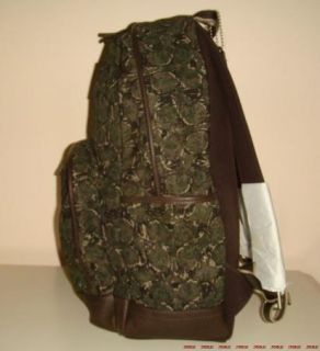 NWT COACH MENS XL CAMOUFLAGE PRINTED BACKPACK GREEN BROWN 70658