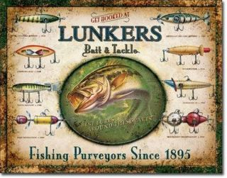 Vintage Lunkers Fishing Lures Bait Tackle Tin Sign Cabin Decor