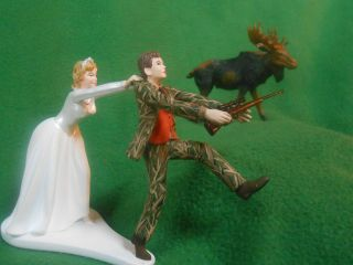 funny wedding cake topper real tree camo camouflage hunting MOOSE