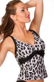 New Ladies Camille Black Animal Print Womens Halter Neck Tankini Top
