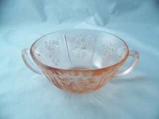 Federal Glass Sharon Cabbage Rose Pink Cream Soup Bowl Excellent