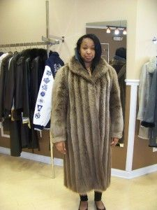 Fur Natural Canadian Blonde Beaver Coat Wing Collar Cuffs Hood