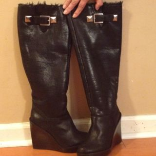 Michael Kors Calista Suede Knee High Platform Wedge Black Boots 8 5 9