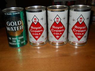 SODA POP CAN FLAT TOP 1 GOLD WATER 3 ALASKA ROYAL CROWN COLA