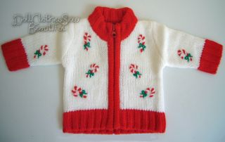 Doll Clothes Fits American Girl Candy Cane Sweater L K