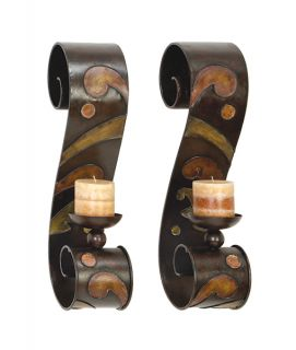 Stratford Scroll Metal Wall Candle Sconces Two Piece Set