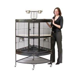 Prevue Hendryx Large Corner Bird Cage in Black 3158BLK
