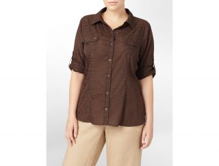 Calvin Klein Plus Linen Roll Up Shirt Womens