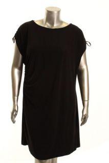 Calvin Klein New Black Shirred Boatneck Cocktail Dress Plus 1x BHFO