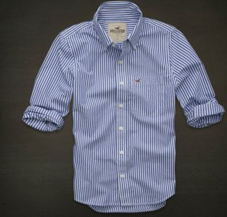Hollister by Abercrombie Mens Calabasas Blue Stripe Button Down Shirt