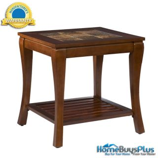 Cambria End Table Brown Cherry Finish Wood Slate Top Set Available