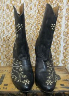 Calleen Cordero Womens Black Embellished Unique Leather Cowboy Boots
