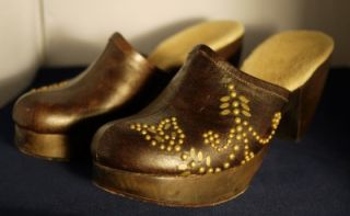 Calleen Cordero Leather Clogs Moroccan Inspired Mules Size 8 7.5