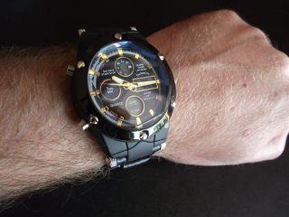 Reloj Dual Formato Para Hombres Marca EMC Negro Y Oro Correa Piel Con