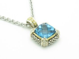 Andrea Candela 18K Silver Cushion Cut Blue Topaz Diamond Pendant ACP07