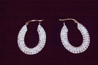 Candela 14 KT Yellow Gold and Crystal Oval Hoop Earrings