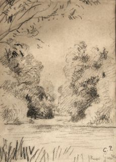 Camille Pissarro French Kew Garden Graphite on Paper Signed 17x12 cm