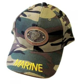 Camo Marines Leather Metal Emblem Baseball Cap Hat