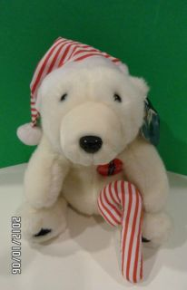 1993 Christmas Plush White 10 Polar Bear Stripe Candy Cane Hat w/ Tag