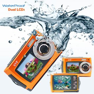 Orange Dual LCD Underwater Digital Camera Camcorder Waterproof