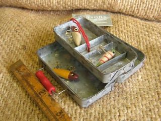 Cannon Falls Metal Fishing Tackle Box w Lures Ornament