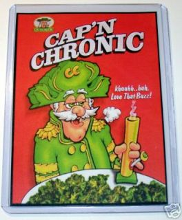 Captain Chronic Smoking Pot Weed Bong Crunch Magnet