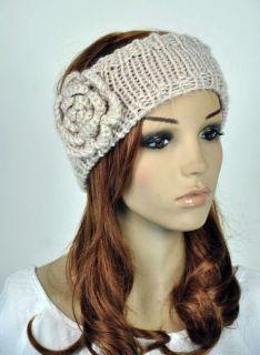 Crochet Cute Flower Leaf Winter Headband Head Wrap Cap Beige