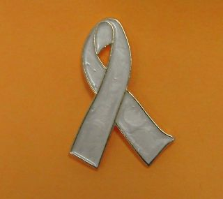 Lung Cancer Awareness Pearl Ribbon Support Pin Tac New