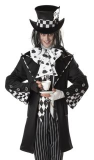 Mens Black White Mad Hatter Adult Halloween Costume