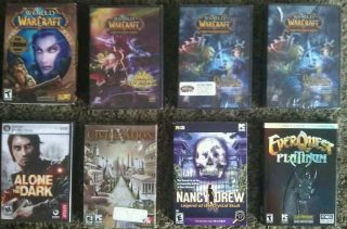 PC Games Lot 16 EverQuest Call of Duty 2 Warcraft Trading Card Games