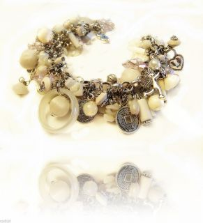 VINTAGE Bead WHITE Silver CHARM Bracelet OOAK Murano GLASS Ring MILK