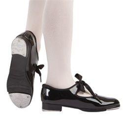 Capezio Black Patent Jr Tyette Tap Shoe Size 5 5 N M