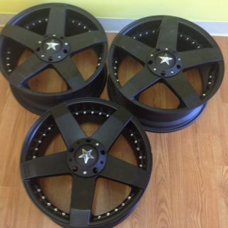 inch KMC Rockstar Car Wheels Matte Black Rims 5x4 5 120 Et 42