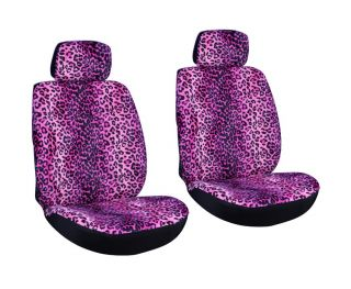 Leopard Animal Print Purple Low Back Bucket Car Seat Covers Set