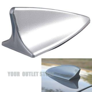 New Universal Car Silver Shark Fin Roof Top Mount Aerial Base Mast
