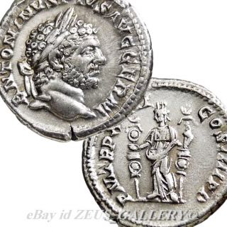CARACALLA FIDES MILITARY STANDARDS Ancient Roman Silver Coin denarius