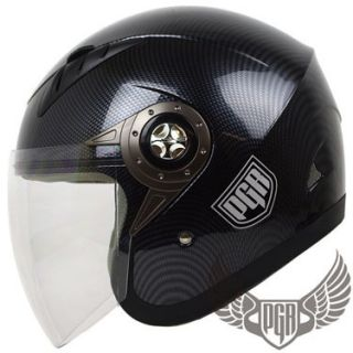 Jet Pilot Carbon Motorcycle Helmet Scooter Open Face XL