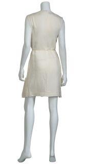 Calvin Klein Collection Black Label Crisp Ivory Pleated Cocktail Dress