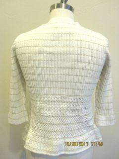 Calvin Klein Jeans Ivory White Cotton Acrylic Ribbed Sweater Gold Sz