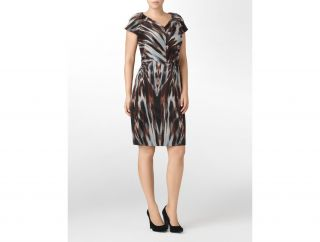 Calvin Klein Plus Animal Print Cap Sleeve Ponte Dress Womens