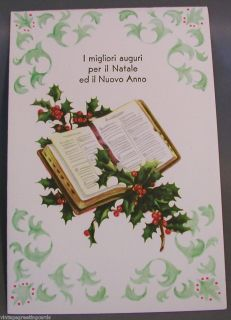 Vintage Italian 1950s Christmas Card Mint Unused with Envelope Holly