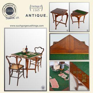 Antique Games Card Table Envelope Fold Over in Oak Edwardian C1910