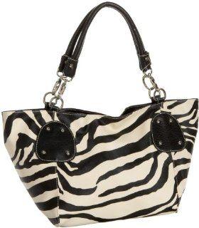 Black Large Vicky Zebra Print Faux Leather Satchel Bag Handbag Purse